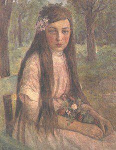 Девушка с цветами (1917 г.) Холст. Масло 65х53
